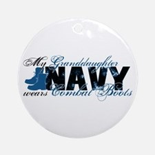 Granddaughter Combat Boots - NAVY Ornament (Round)