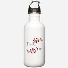Red Cherry Blossoms Thank You.jpg Water Bottle