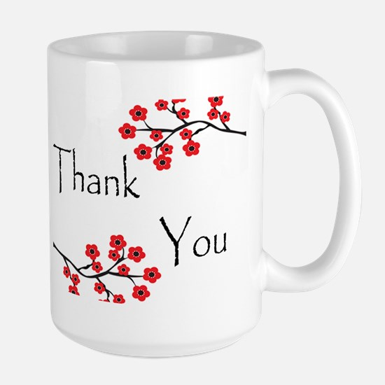 Red Cherry Blossoms Thank You.jpg Large Mug