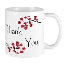 Red Cherry Blossoms Thank You.jpg Small Mugs