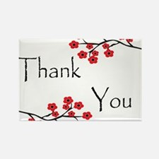 Red Cherry Blossoms Thank You.jpg Rectangle Magnet