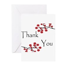 Red Cherry Blossoms Thank You.jpg Greeting Cards (