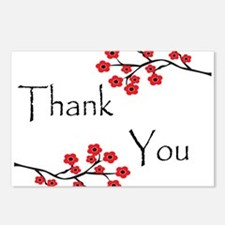 Red Cherry Blossoms Thank You.jpg Postcards (Packa