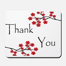 Red Cherry Blossoms Thank You.jpg Mousepad