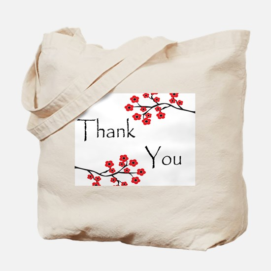 Red Cherry Blossoms Thank You.jpg Tote Bag