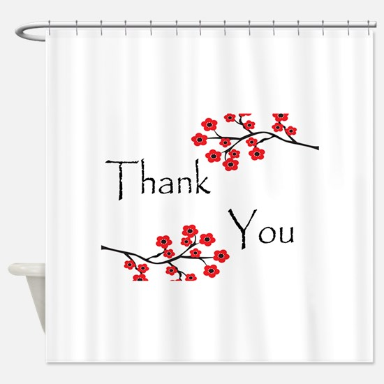 Red Cherry Blossoms Thank You.jpg Shower Curtain
