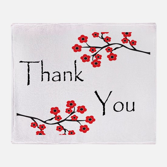 Red Cherry Blossoms Thank You.jpg Throw Blanket