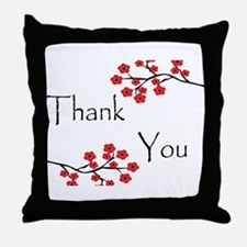 Red Cherry Blossoms Thank You.jpg Throw Pillow