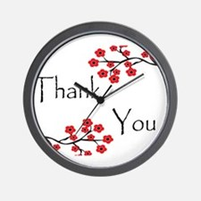 Red Cherry Blossoms Thank You.jpg Wall Clock