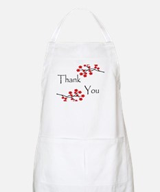 Red Cherry Blossoms Thank You.jpg Apron