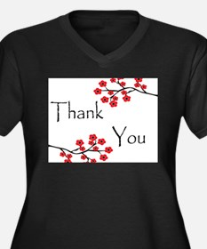 Red Cherry Blossoms Thank You.jpg Women's Plus Siz
