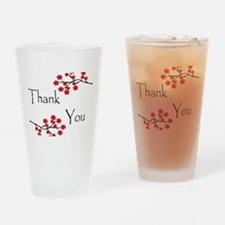 Red Cherry Blossoms Thank You.jpg Drinking Glass