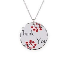Red Cherry Blossoms Thank You.jpg Necklace