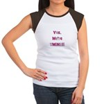 Yes, We're Twins - Pink & Pin Women's Cap Sleeve T