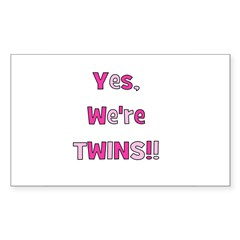 Yes, We're Twins - Pink & Pin Sticker (Rectangular
