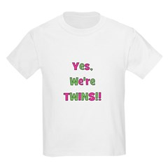 Yes We're Twins! Pink & Green Kids T-Shirt