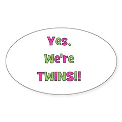 Yes We're Twins! Pink & Green Oval Decal