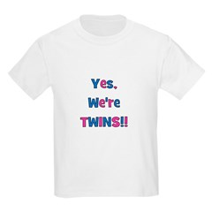 Yes, We're Twins! Blue & Pin Kids T-Shirt