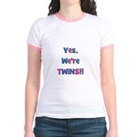 Yes, We're Twins! Blue & Pin Jr. Ringer T-Shirt