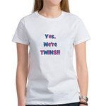 Yes, We're Twins! Blue & Pin Women's T-Shirt