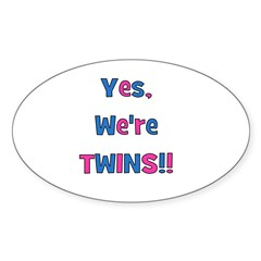 Yes, We're Twins! Blue & Pin Oval Decal