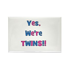 Yes, We're Twins! Blue & Pin Rectangle Magnet