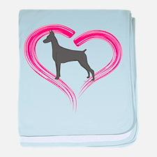 Heart My Blue Doberman baby blanket