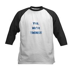 Yes, We're Twins! Blue & Blue Kids Baseball Jersey