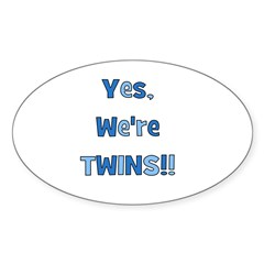 Yes, We're Twins! Blue & Blue Oval Decal