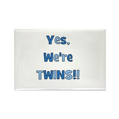 Yes, We're Twins! Blue & Blue Rectangle Magnet