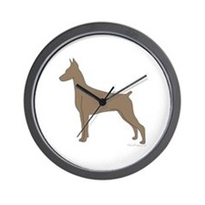 Fawn Doberman Silhouette Wall Clock