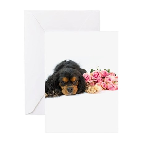 Cavalier King Charles Spaniel With Pink Roses Gree