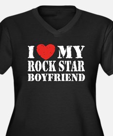 Rock Star Boyfriend Women's Plus Size V-Neck Dark
