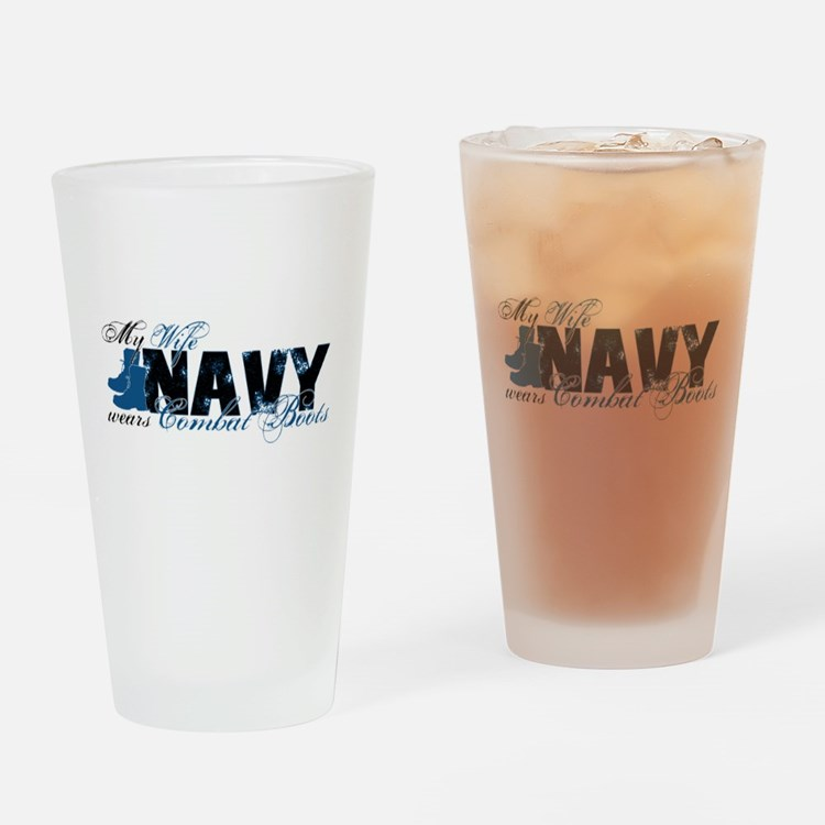 Wife Combat Boots - NAVY Drinking Glass