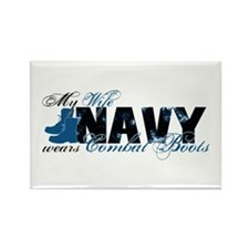 Wife Combat Boots - NAVY Rectangle Magnet