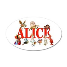 Alice & Friends in Wonderland 22x14 Oval Wall Peel
