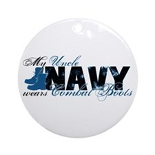 Uncle Combat Boots - NAVY Ornament (Round)