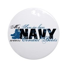 Son law Combat Boots - NAVY Ornament (Round)