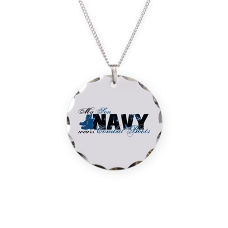 Son Combat Boots - NAVY Necklace Circle Charm