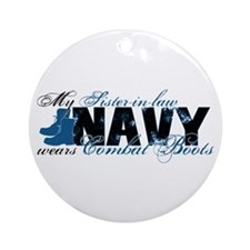 Sis Law Combat Boots - NAVY Ornament (Round)