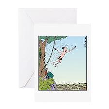 Tarzan runs out of Jungle Greeting Card