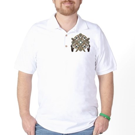 Turquoise Silver Dreamcatcher Golf Shirt
