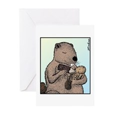 Mother Beaver and Baby Greeting Card