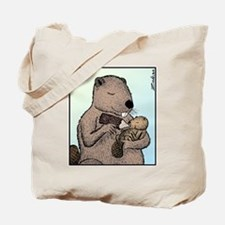 Mother Beaver and Baby Tote Bag