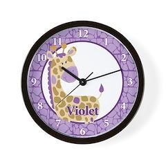 Purple Giraffe Wall Clock - Violet