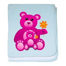 Pink Teddy Bears baby blanket