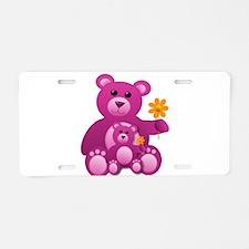 Pink Teddy Bears Aluminum License Plate