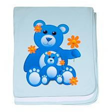 Blue Teddies w/Flowers baby blanket