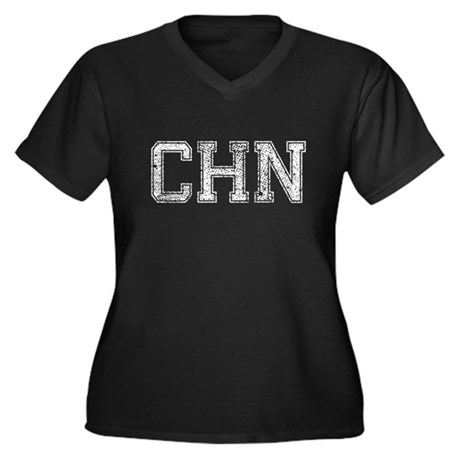 CHN, Vintage, Women's Plus Size V-Neck Dark T-Shir