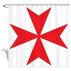 Red Maltese Cross Shower Curtain
